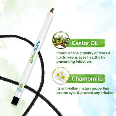 Mamaearth Charcoal Black Long Stay Kohl With Castor Oil and Chamomile