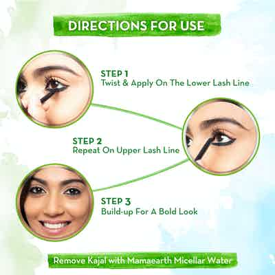 How To Use Mamaearth Charcoal Black Long Stay Kajal