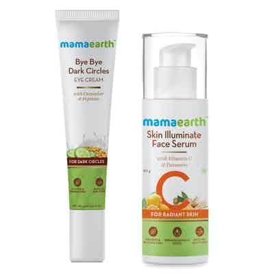 Mamaearth Skin Illuminate Face Serum and Bye Bye Dark Circles Combo