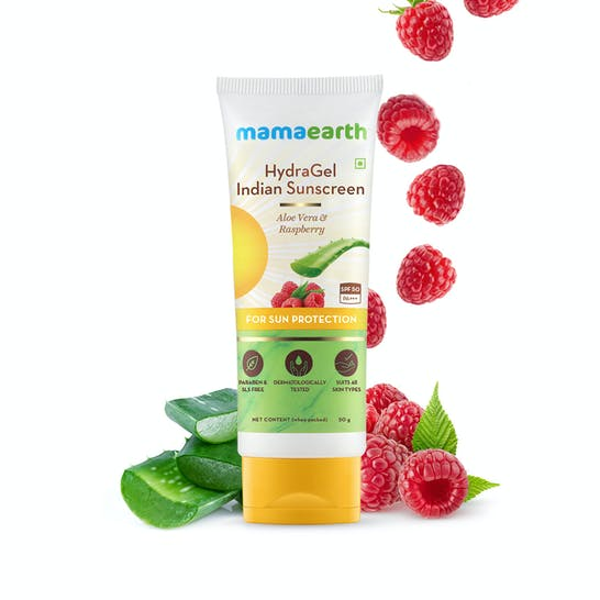 HydraGel Indian Sunscreen with Aloe Vera & Raspberry for Sun Protection - 50 g