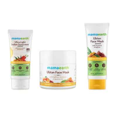 Mamaearth Turmeric Revitalising Regime With Ultra-Light Sunscreen and Ubtan Face Mask and Ubtan Face Wash Combo