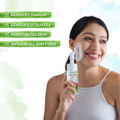 mamaearth micellar water foaming makeup remover moisturizes skin