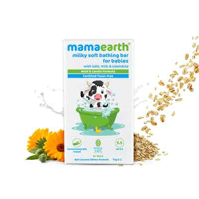 mamaearth Milky Soft Bathing Bar for Babies with Oats, Milk and Calendula – 75g x 2