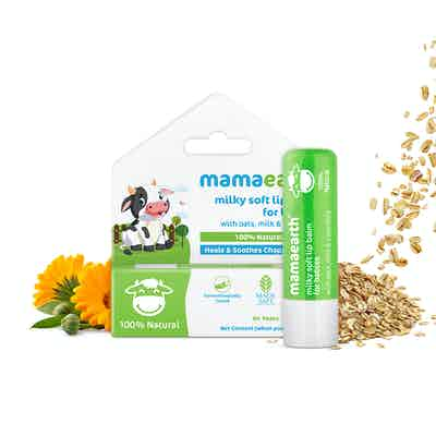 mamaearth 100% Natural Milky Soft Lip Balm for Kids, Babies for 12 Hour Moisturization, with Oats, Milk and Calendula – 4g