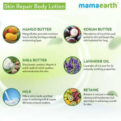mamaearth skin repair body lotion ingredients