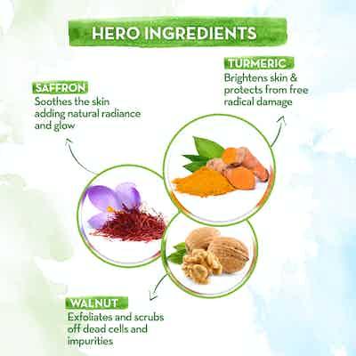 Ubtan Body Scrub with Turmeric and Saffron  key ingredients